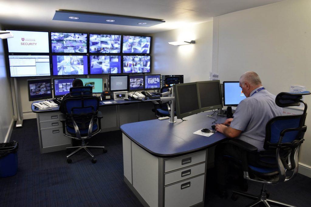 CCTV control room media wall example two person and supervisor